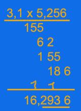 schriftlich Dezimalbrüche multiplizieren - Nachkommastellen abstreichen