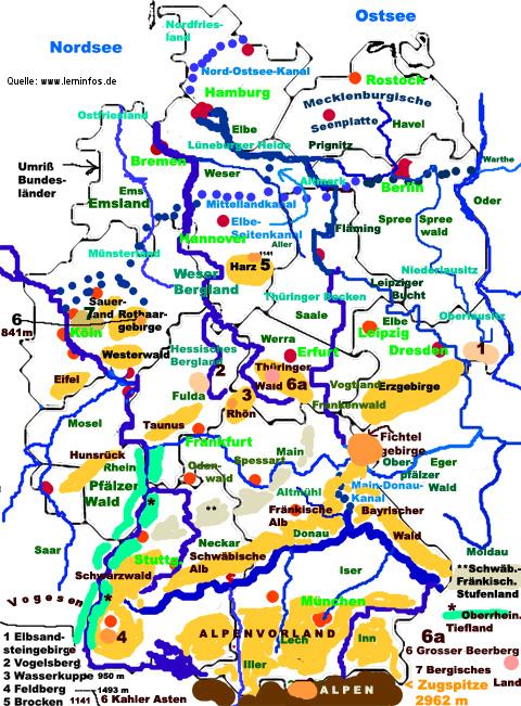 Bekannte deutsche flüsse höhenlagen berge landschaften