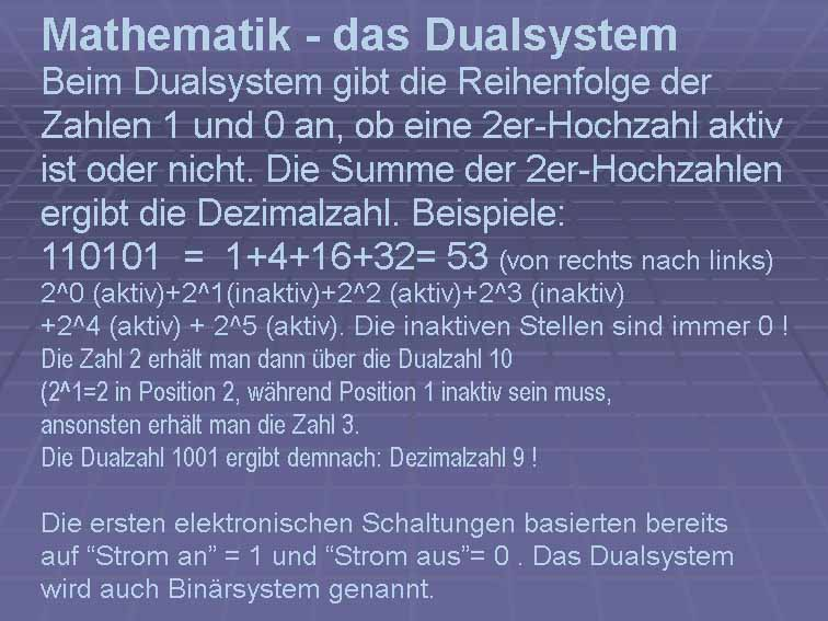 das dual- oder binärsystem