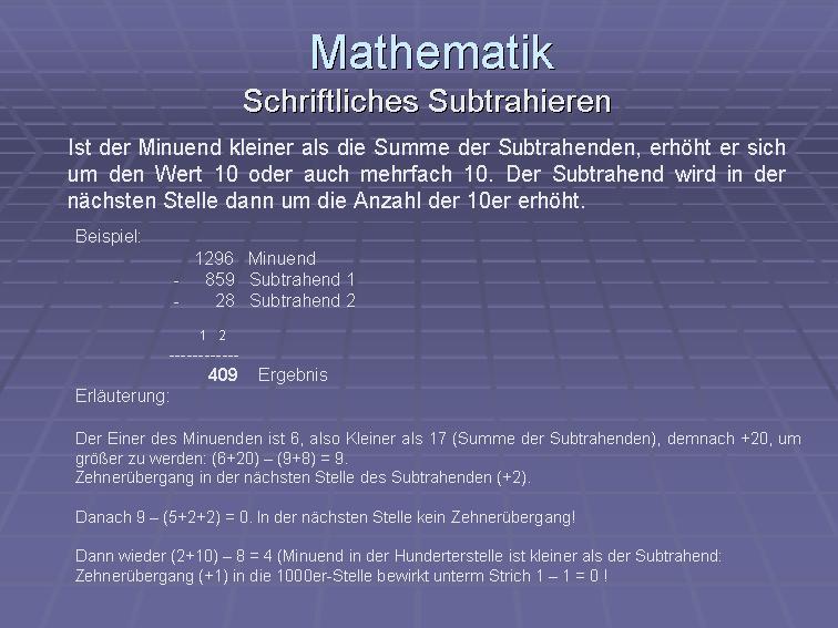 Mathematik-Grundrechenarten-schriftlich addieren, subtrahieren ...
